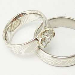 PWhite Gold and Silver Mokume Rings with Diamond