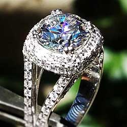 Platinum Halo style ring with diamonds