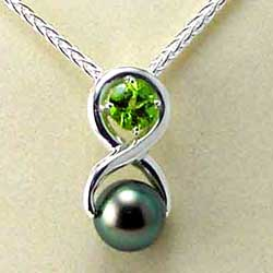 Peridot and Tahitian Pearl Pendant and Earrings