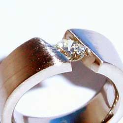 Stainless Steel Tension Set ring with Diamond
